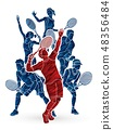 Tennis players , Men and Women action graphic  48356484