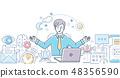 Mindfulness at work - modern line design style illustration 48356590