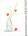 Vase with branch with hearts, still life 48357097