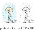 Man with umbrella in rain, watercolor artwork 48357101