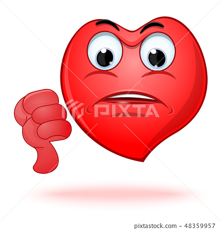 Emoticon heart shaped face showing thumbs down 48359957