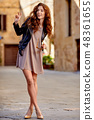 Beautiful fashion woman outdoor on the street of the old Italy t 48361655