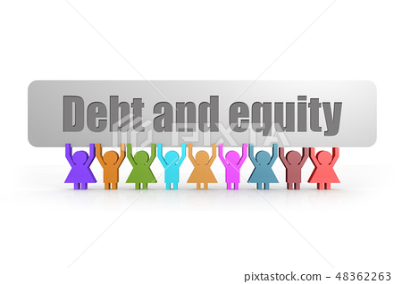 Debt and equity word on a banner  48362263
