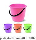 Plastic Bucket Vector. Bucketful Different Colors. Classic Jar With Handle, Empty. Garden, Household 48363002