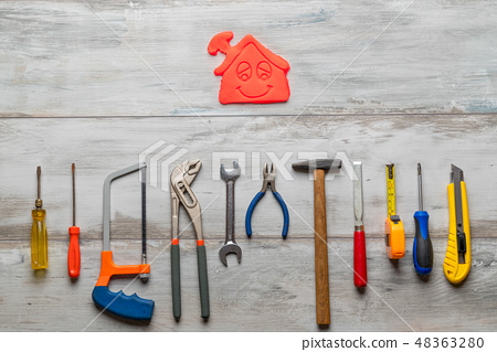 Set of work tool  with icon of house 48363280