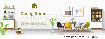 Interior background with modern dining room 48366037