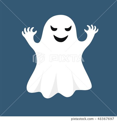 Vector white ghost isolated on blue background 48367697
