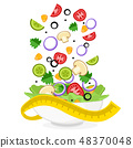Fresh vegetables fly into a salad plate on a white 48370048