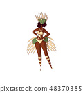 Vector design of Brazilian girl. Young Latino woman in bikini and headdress with feathers. Rio 48370385