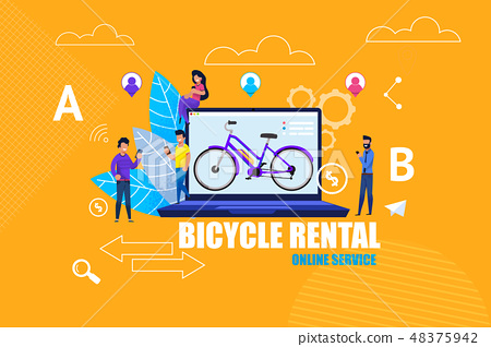 Flat Banner Bicycle Rental Online Service App. 48375942