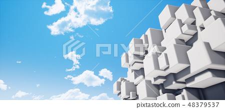 鮮豔細緻的抽象的白色霧面幾何牆紋理背景(高分辨率 3D CG 渲染∕著色插圖) 48379537