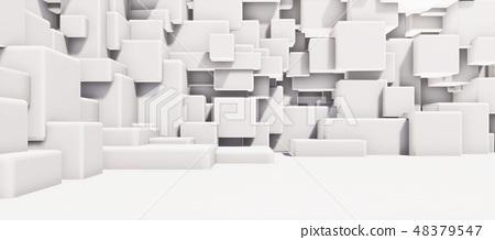 鮮豔細緻的抽象的白色霧面幾何牆紋理背景(高分辨率 3D CG 渲染∕著色插圖) 48379547