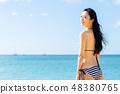 수영복 젊은 여성 48380765