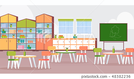 preschool modern kindergarten children classroom with chalkboard desks and chairs decoration 48382236