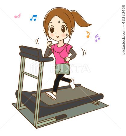 跑在室內賽跑者的婦女,當聽音樂01時 48383459