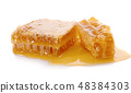 Honeycomb piece. Honey slice isolated on white  48384303