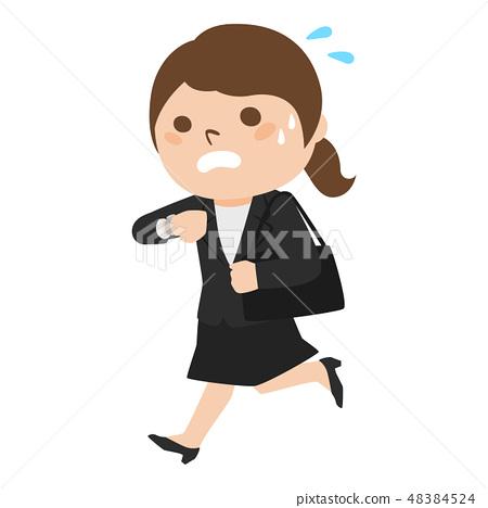 젊은 여성의 일러스트. 시계 보면서 달리는 사업가. 48384524