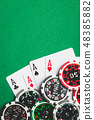 Four aces. Poker cards and chips. 48385882