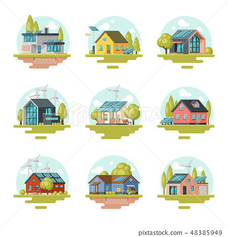 Flat vector det of modern and traditional eco-friendly houses. Residential buildings with solar 48385949