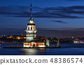 Maiden's Tower in Bosphorus at night 48386574
