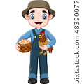 Cartoon farmer holding chicken and a basket of egg 48390077