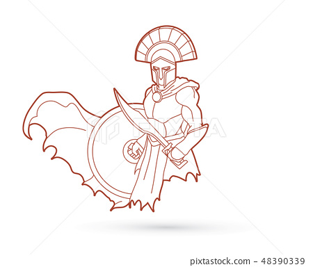 Angry Spartan warrior with Sword and shield vector 48390339