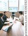การประชุมทางธุรกิจหน้าจอขนาดใหญ่ 48390392