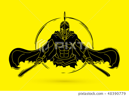 Angry Spartan warrior with Swords graphic vector. 48390779