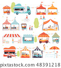 Street Food Set, Sellers Selling Food at Kiosk, Booth, Food Truck and Cart Vector Illustration 48391218