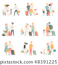 Family travel Set, Father, Mother and Kids Characters Travelling Together, Happy family Vector 48391225