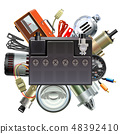Vector Car Parts Concept with Car Battery 48392410