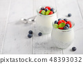 Chia seed pudding with fresh berries. 48393032