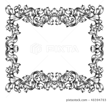 Frame Border Pattern Filigree Scroll Leaf Vintage 48394783