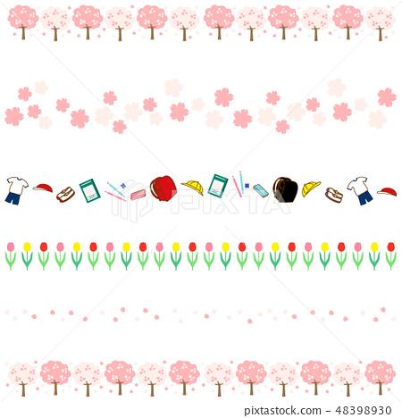 春天櫻花行花瓣小學生文具鬱金香邊框 48398930