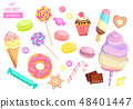 Set of isolated sweets on white background. 48401447