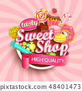 Sweet shop logo, label or emblem. 48401473