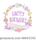 Happy birthday card. 48401545