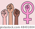 female hands, feminist sign, vector 48401604
