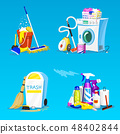 Cleaning tools. Set of House icons for poster. Washing machine, Detergents Cleanser for apartments 48402844