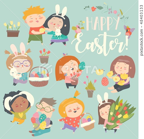 Cute little children with Easter theme. Happy Easter 48403133