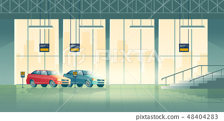 Car dealer salon showroom interior cartoon vector 48404283