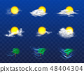Vector 3d realistic weather forecast, metcast elements 48404304