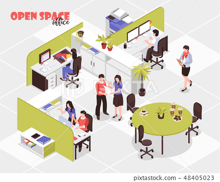 Open Space Office Isometric Illustration 48405023