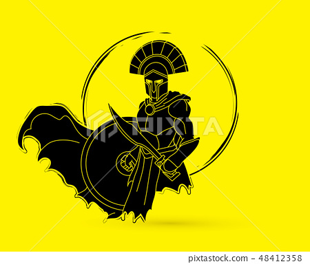 Angry Spartan warrior with Sword and shield vector 48412358