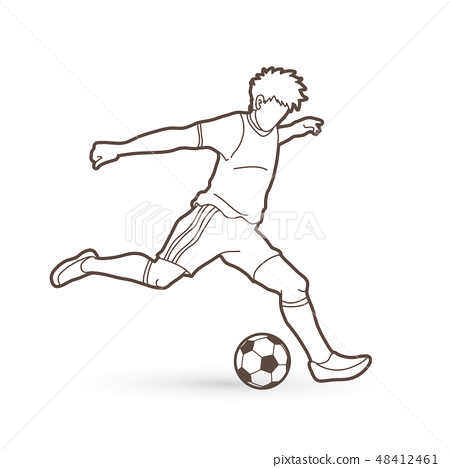 Soccer player running and kicking a ball vector 48412461