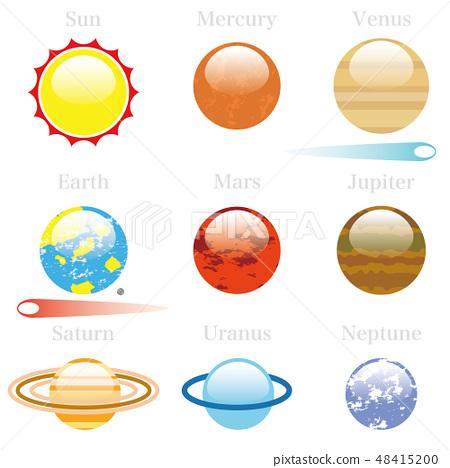 太陽系行星圖圖標太陽能係統圖標 48415200