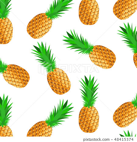 Seamless background with ripe pineapples 48415374