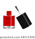 Red nail polish in round glass bottle with cap 48415408
