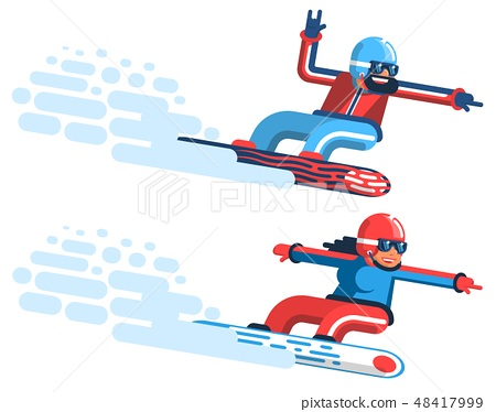 Snowboarders man and girl 48417999