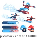Isolated happy snowboarder rushing at speed with snow fountain 48418000